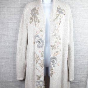 Chico's Floral Embroidered Cardigan Duster